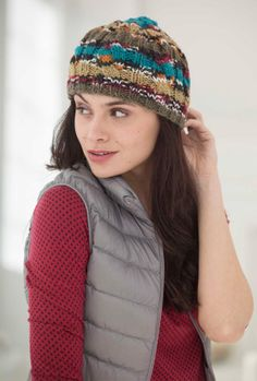Knit this Softly Cabled Hat with just one ball of Vanna's Tapestry.