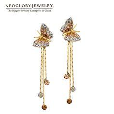 Neoglory mariposa borla larga cuelga los pendientes de gota de la muchacha adolescente de dama de honor 2017 nuevo cumpleaños birthstone regalos joyería js6