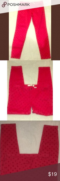"Joe Fresh Pink on Pink Texture Polka Dot Jeans For sale: Women's Joe Fresh Pink on Pink Textured Polka Dot Slim Fit Jeans. Size 12. Sits low at the waist.  Waist: approximately 32"" and inseam: approximately 30"". Interested? Like, share, bundle, buy! Joe Fresh Jeans Skinny"