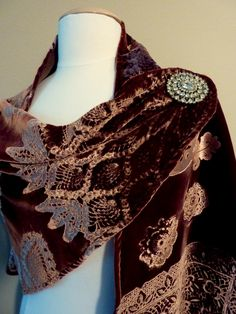 Velvet Shawl Wrap Wedding Bridal Evening Formal Lace Custom Embossed by Velvet manna for Etsy. $155.00, via Etsy.