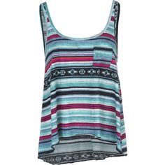 Billabong Sea You Again Tank Top ($22) ❤ liked on Polyvore featuring tops, shirts, tank tops, tanks, blue tank top, billabong tops, billabong tank tops, summer tops and vintage tank