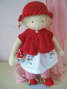 waldorf doll  poupée  puppe  ~ I love the hat & shoes with berries on the shoelaces and muchroom being held
