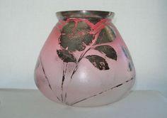 Extraordinary ART NOUVEAU Ice Texture FINE Glass VASE HAND PAINTED Silver RUBINA