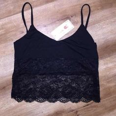 Black Lace Crop Top Black lace crop top new with tags Tops Crop Tops