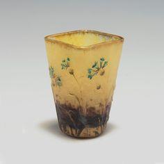 Small 'Bleuets' mug, c1905, Daum Freres, Nancy. H. 5.5cm