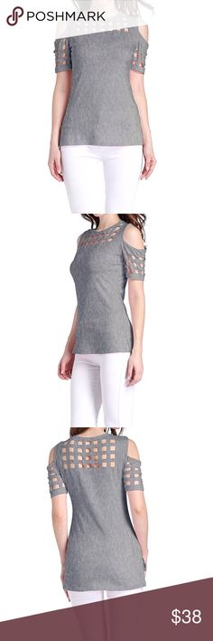 Meshed Cold Shoulder Top New. Tops Tees - Short Sleeve