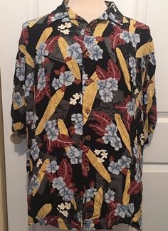 Kahala Islands Aloha Hawaiian Shirt Mens 2XL XXL Hibiscus & Surfboards Surfing #Kahala #Hawaiian