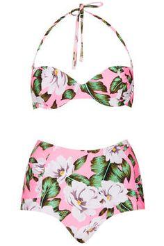 Pink Floral High Waist Bikini