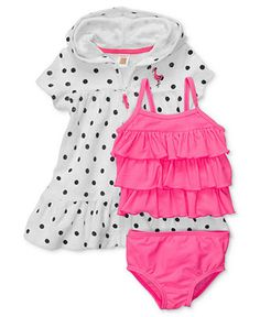 Carters Baby Set, Baby Girls Three-Piece Swim Tankini Top, Bottoms and Cover-Up - Kids Baby Girl (0-24 months) - Macys