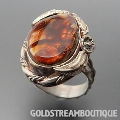 KENNETH JONES? NAVAJO STERLING SILVER FIRE AGATE LEAF FOLIAGE RING (7.5) #6192