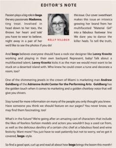 BOGA Editor's Note. Kelly Villoch