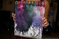 glue crayons on white paper, then use a blowdryer to melt them.