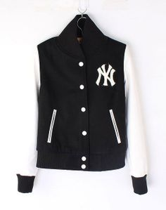 Womens NY Yankee Baseball jacket Black White [Womens NY Yankee Black White] - $115.00 : Varsity Letterman Jackets,Varsity Jackets For Girls Online Store! ($100-200) - Svpply