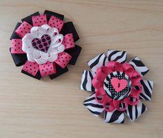 Lovely Zebra & Polka Dots Loopy Hair Bows Set - ColorfulBows