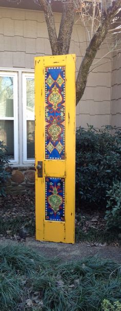 Wood door handpainted antique vintage wall by OneInAMillionFinds