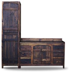 Old World Vanity from Reclaimed Barnwood, 60x20x32 with Linen Cabinet - rustic - Bathroom Vanities And Sink Consoles - FoxDen Decor