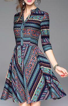 Striped Print Mini Dress