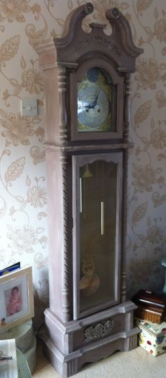 This was a repro grandfather clock which I gave an Annie Sloan makeover. I love it !