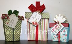 Wood Christmas packages w scrapbook paper