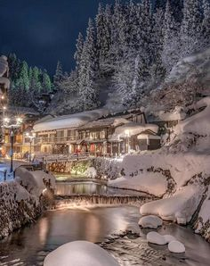 Christmas Scenery, Destinations, Beautiful Pictures, Japan, River, Mansions, House Styles, Places, Nature