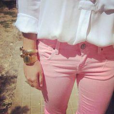 Pink pants gold watch baggy white shirt