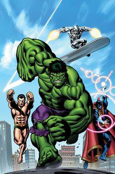 The Defenders by Ed McGuinness (Namor /The Sub-Mariner, Hulk, Silver Surfer, & Dr. Strange)