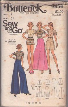 MOMSPatterns Vintage Sewing Patterns - Butterick 6956 Vintage 70's Sewing Pattern FOXY Sew & Go Disco Puff Dolman Sleeve Blouse, Top, Hot Pants Shorts, Mini or Maxi Skirt & WIDE Belled Palazzo Pants Size 12
