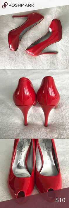 🌶 Red Hot Heels 🌶 Jessica Simpson peep toe chili pepper red hot heels. Patent genuine leather upper with some serious shine, silver sole. Small signs of wear - right heel and area around left toe, as seen in photos. Still in incredible condition and have lots of life left. Throw these on to kick up your jeans a few notches, or pair with a little black dress on your way to the dance floor. Jessica Simpson Shoes Heels