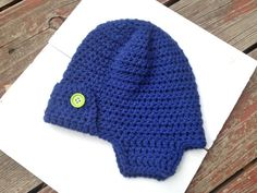 Crochet Toddler Aviator Hat, Blue with Lime Green Buttons, Trapper Hat, Hunter Hat, Bomber Hat, Toddler Boy Photo Prop, RTS, Ready to Ship