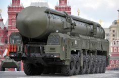 """A Russian RT-2UTTKh Topol-M or SS-27 """"Sickle B"""" mobile nuclear intercontinental ballistic (RS-24 a 550 kT yield nuclear warhead) missile platform."""