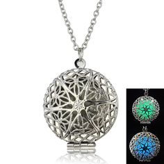 Luminous engagement silver Plated Pendant Necklace Fluorescent Hollow Open Round Vintage cheap Glow In The Dark For Women