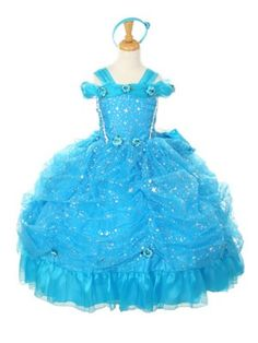 Turquoise Organza Star Girl Dress (Sizes 2-8 only) - Princess Dresses - GIRLS