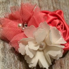 Cool Corals!  The perfect match!  Coral, Salmon & Cream Flower Headband  $10