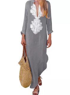 Linen Fashion V Neck Long Sleeve Maxi Shift Dress Women's Dresses, Women's Fashion Dresses, Casual Dresses, Sleeve Dresses, Ladies Dresses, Long Dresses, Dresses Online, Flower Dresses, Party Dresses