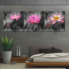 3 Panel Modern Painting Home Decorative Art Picture Paint on Canvas Prints Charming lotus stood in the rain Time Limited No Framed 3 Pcs Oil Paintings On Canvas For Living Room Flowers Black Wall Art Poster Large Hd Modular Pictures 3 Canvas Paintings, Multiple Canvas Paintings, Easy Paintings, Canvas Artwork, Oil Paintings, Canvas Prints, Canvas Pictures, Art Pictures, Images D'art