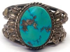 Large Native American Sterling Silver Turquoise Old Pawn Cuff Bracelet