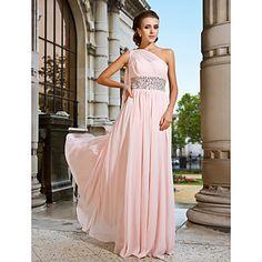 Sheath/Column One Shoulder Floor-length Chiffon Evening Dress – USD $ 199.99