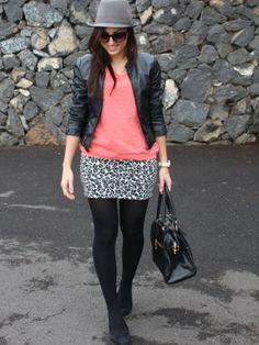 andtrendydreams Outfit cazadora negro falda Borsalino bailarinas coral  jersey perfecto print de leopardo bolso negro Invierno Combinar Sombrero  Gris Oscuro ... 413222cd586