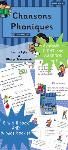 $ Chansons Phoniques NEW! Includes a 1/4 page booklet for center activities... or to send home! Learn the 36 fundamental sounds of the French Language through familiar songs. Develop automatic recall of the sound - letter(s) connection. •Blend sounds to discover a mystery word. •Segment sounds orally to learn to hear the sounds in words. Excellent resource- 'Le manuel phonique' by Janet Mozan et Sue Lloyd published by Jolly Learning Ltd.