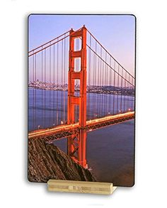 Golden Gate Bridge, North Tower from Marin Headlands, San Francisco, California, USA - Original Photography Metal Art Print Gift with Bamboo Stand for Office Desk Art or Home Table Art Display North Tower, Art Desk, Poster Prints, Art Prints, Death Valley, California Usa, Golden Gate Bridge, Metal Art, Marines