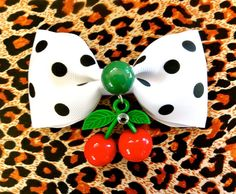 Psycho Monster Cherry & Dots Hair Bow  White by PunkUpBettie