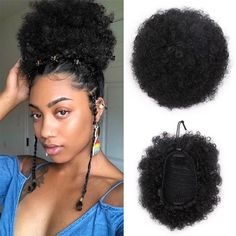 Doris beauty Synthetic Puff Afro Short Kinky Curly Chignon Hair Bun Drawstring Ponytail Wrap Hairpiece Fake Hair Extensions - May 25 2019 at Afro Hair Bun, Kinky Curly Hair, Curly Hair Styles, Black Ponytail Hairstyles, Afro Hairstyles, Puff Ponytail, Ponytail Wrap, Hair Ponytail, Fake Hair Extensions