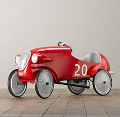 le mans pedal car | Powered by pedals and topping out at multiple smiles per hour, our streamlined metal vehicle replicates the sporty elegance of the vintage European racecars that inspired it. Solidly constructed with a metal frame with a painted finish, each model displays different details from stripes and stylized checkerboard flags to racing numbers.