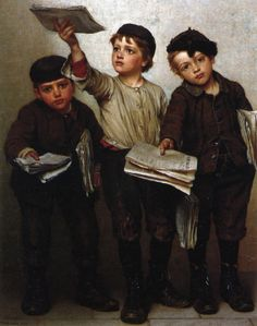 """""""Morning Papers"""" by John George Brown (1831-1913, English born American)"""