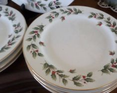 set of eightholly timechinachristmas chinabread and butter plates - Christmas China Sets