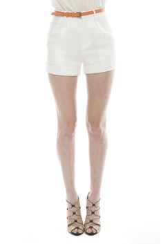 for women: White Cuffed Shorts by Ladakh