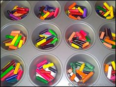 recycle broken crayons - 20 minutes 150 degree oven, 20 minutes in freezer, pop out rainbow crayons