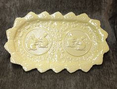 Yellow Majolica Rabbit Tray Bordallo Pinheiro by BullfrogHollow
