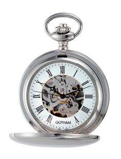 0ddda5b990d Amazon.com  Gotham Men s Silver-Tone Mechanical Pocket Watch with Desktop  Stand   GWC14050S-ST  Watches