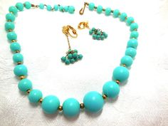 Vintage Turquoise Necklace and Earrings Plastic by JewlsinBloom